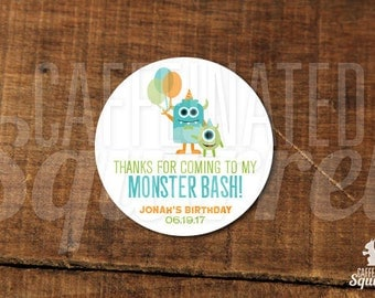 Thanks for coming to my Monster Bash! Stickers - Favors, Birthday, Monster, Party, Sticker, Little Monster, Party Hats, Balloons