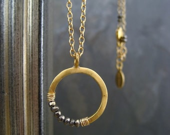 Pyrite necklace, circle pendant, crescent necklace, moon pendant, layering necklace, half moon, round pendant, gold circle pendant