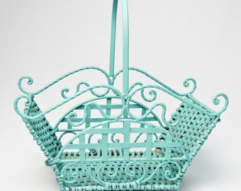 Wicker and Iron Basket Hand Painted in Aqua / Napkin Holder / Kitchen Decor / Kitchen Storage / Home Decor