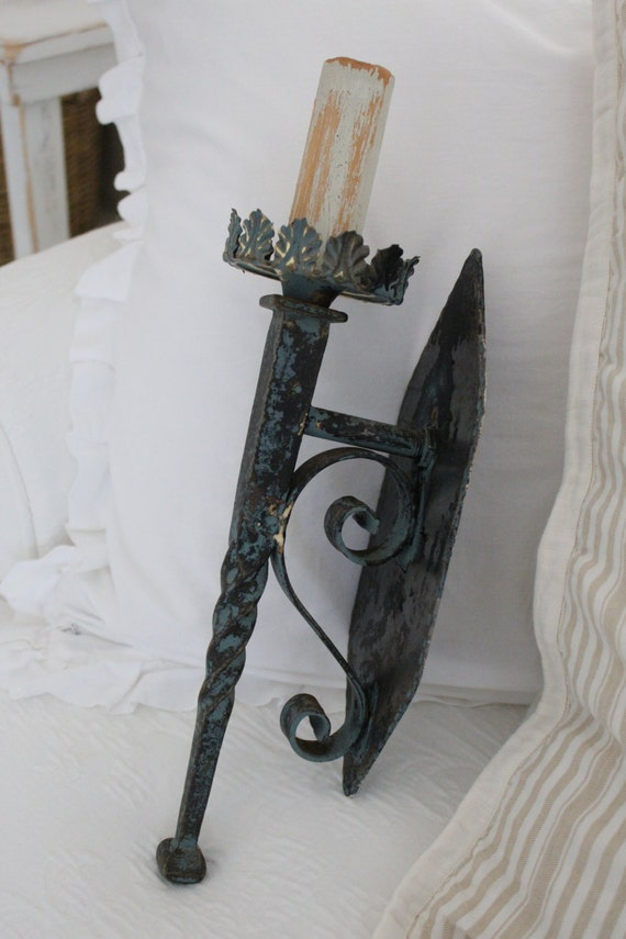 2..IRON Wall SCONCES Forged Euro Chic by BurlapLuxe on Etsy