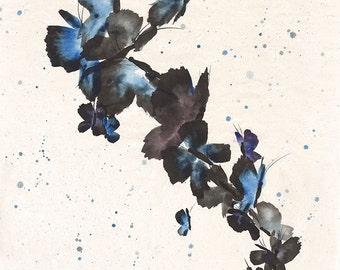 Butterfly Frenzy - sumi-e watercolor painting - 8 x 10 (Print)