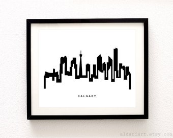 Calgary Cityscape Print - Calgary Alberta Wall Art - Calgary Skyline Print - Modern Black and White Wall Art - City Print - Aldari Art