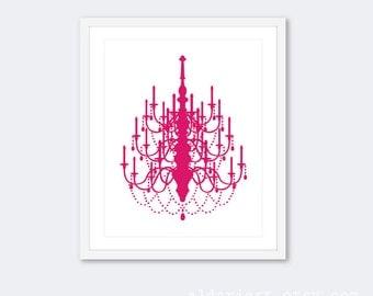 Chandelier Art Print - Chandelier Wall Art - Chandelier Poster - Chandelier  Decor - Pink and White Chadelier Decor - Aldari Art