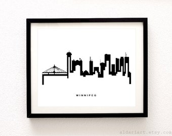 Winnipeg Skyline Print - Cityscape Print - Winnipeg Wall Art - Winnipeg City Print - Modern Black and White Wall Art - Aldari Art