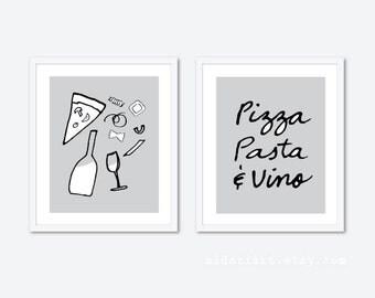 Pizza Pasta Vino Art Prints - Pizza Pasta and Wine Prints - Italian Food Prints - Kitchen Wall Art - Set of Two Prints - Grey Black White