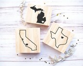Custom US State Rubber Stamp with Heart Over Your City California Oregon Michigan Florida Texas Washington Montana New York