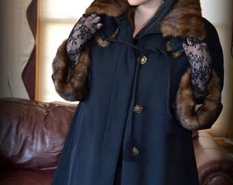 Luxurious Elegant Mink Fur Lined Navy Blue Trench Coat / Spy Coat / Fabulous Brown Mink Lining / Fur Lined Rain Coat M L XL 10 12 14