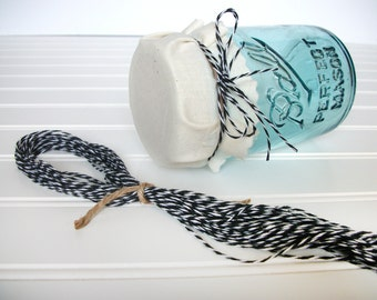 24 Black and White Baker's Twine ribbons for mason canning jars, shower favors, gifts, precut twine pieces for jam jar favors