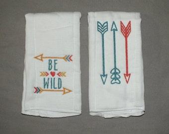 Arrow burp cloth baby girl arrow burp cloth be wild burp cloth personalized burp cloth personalized burp cloth