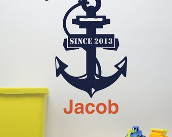 Wall Decal . Baby Stats Wall Art . Personalized Wall Decal . Personalized Baby Gift . Anchor Decal . Nautical Wall Decor . LSWD-0134