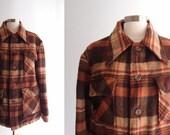 1940s mens Brown & Orange Plaid multi-pocket Wool blend hunting Jacket lined Coat ... size 40