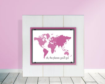 Oh The Places You'll Go Framed Pink Map 11x14 Nursery Wall Decor Plank Frame
