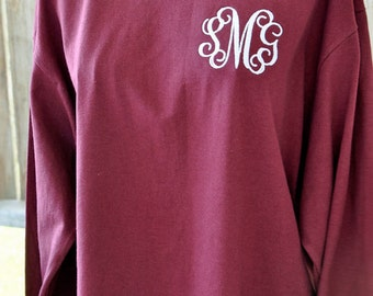 sMonogrammed TShirt, Short Sleeve or Long Sleeve Monogrammed T-Shirt, Personalized Tee, Embroidered T-shirt