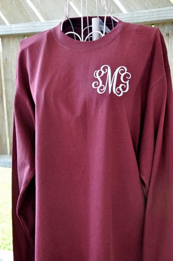 monogrammed long sleeve t shirt or short sleeve monogrammed
