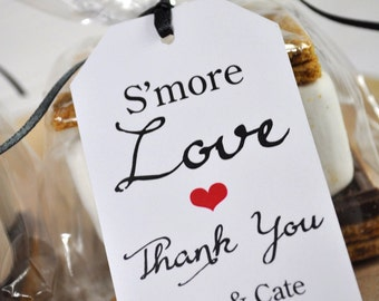 Wedding Favors, Smore Love Favor Tags, Bridal Shower Favor Tags, Thank You Tags, Party Favors, Personalized Favors, Gift Tags - Set of 12