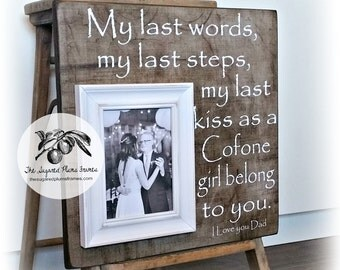 Father of the Bride Gift, Father of the Bride, Rustic Wedding, Wedding Frame, Personalized Wedding Frame, Wedding Gifts for Parents 16x16