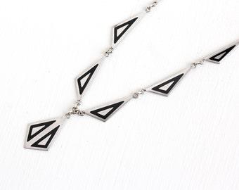 Sale - Vintage Art Deco Black Enamel Necklace - Silver Tone 1920s 1930s Triangular Geometric Lavalier Drop Pendant Jewelry