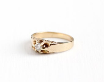 Sale - Antique 14k Rosy Yellow Gold 1/5 Carat Diamond Ring - Men's Vintage Size 9 1/2 Belcher Solitaire Wedding Band Fine Jewelry