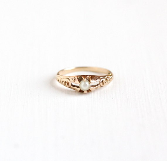 Antique 10k Rose Gold Pearl Baby Ring Victorian Edwardian