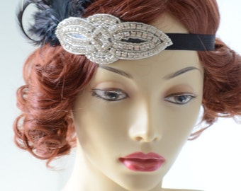 READY TO SHIP, Art Deco Black Feather headband,Gatsby, Downton Abby, Black Feather headpiece, Rhinestone Beaded headband, Feathers, Costume