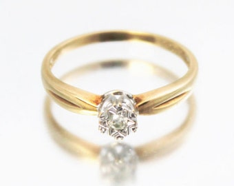 Vintage Ladies Diamond Solitaire Ring Wedding Engagement 9ct 9k Yellow Gold | FREE SHIPPING | Size N.5 / 7