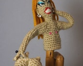 Crocheted Drag Queen Finger Puppet w/removable breasts and wig