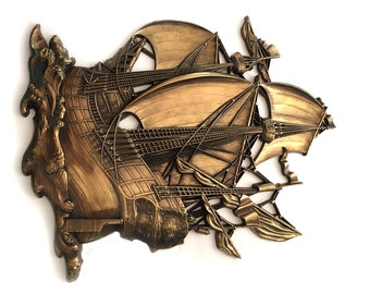 Syroco Homco Vintage Sailing Ship 3663 Boat Wall Pirate Plaque Huge Gold Copper Tone
