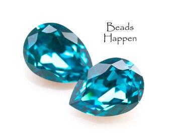 Vintage 18x13mm Swarovski Blue Zircon Pear Crystals, 18x13 Pears, 18x13 Swarovski Pears, Crystals, Jewels, Blue, Quantity 2