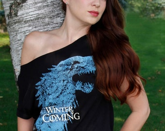 WINTER IS COMING Women's Off the Shoulder Flashdance Longer Length Slouchy Tshirt. House Stark Words & Sigil, Game of Thrones.