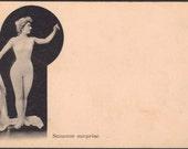 Cécile Sorel as Suzanne Surprise, Faux Nude Pose Plastique, circa 1900