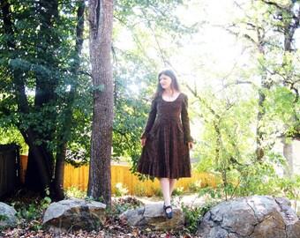 70s boho dress boho cotton velour romantic autumn colors S