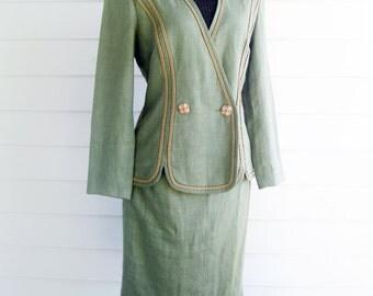 Designer Scaasi Suit lightweight linen moss green S