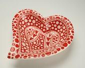Heart Shaped Red and White Swirl Bowl Dinnerware