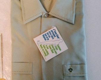 Vintage Brent Shirt Golden Label Mint Olive Green Long Sleeve NEW Deadstock