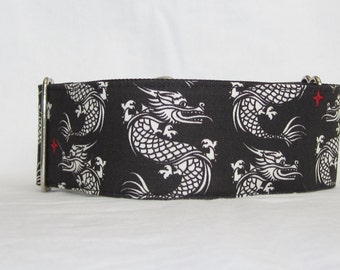 Dragon's Bite Martingale Dog Collar - 1.5 or 2 Inch - asian chinese black white red fierce