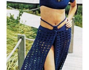 Vintage Crochet Pattern Sexy Sarong Skirt Hip Hugger Bikini Midriff Crop Top 1970s Digital Download PDF