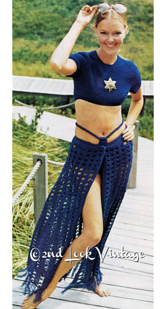 Vintage Crochet Pattern Sexy Sarong Skirt Hip Hugger Bikini Midriff Crop Top 1970s Digital Download PDF