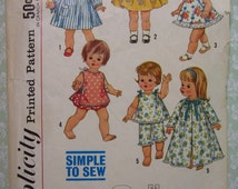 Easy to Sew Doll Clothes for 15 inch Dolls Such as Tiny Chatty Baby Vintage 1960's Simplicity Pattern 4839 Cut/Complete