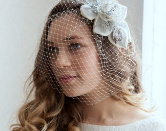 Something Blue Birdcage Veil and Vintage flower fascinator set  1940s Headpiece, 1950s Headpiece 1940s wedding,  Vintage Bridal Fascinator