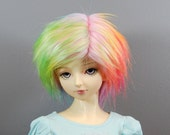 8/9 Faux (Fake) Fur Wig in Pink & Multiple Pastels for SD Boy and Girl BJDs