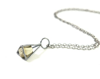 Pyrite Cage Necklace in Sterling Silver- Geometric Cage Necklace with Natural Mineral- Crystal Cage Necklace
