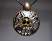 Art Glass Pendant with Copper and Skull by Tim Keyzers
