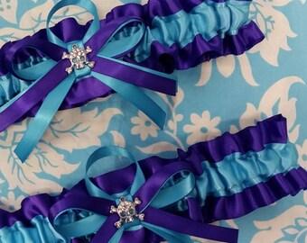 Purple and turquoise Skull Wedding Garter set regal royal purple and white stripe garters black and turquoise blue garter set