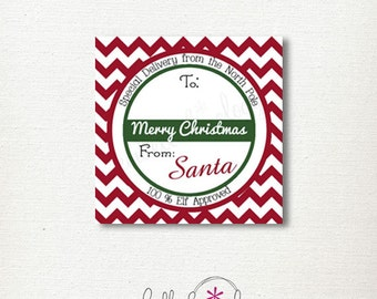 Chevron Printable Gift Tags signed by Santa - Elf Approved
