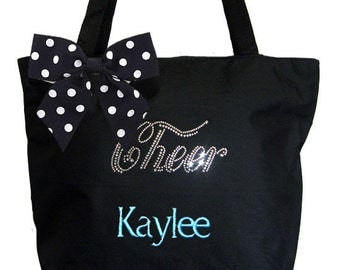Personalized Black ECO Recycled Poly Tote Bag Rhinestone Bling Cheer