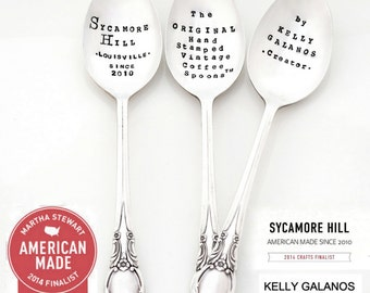 CUSTOM Teaspoon. The ORIGINAL Hand Stamped Vintage Coffee and Espresso Spoons ™ by Sycamore Hill. Custom Silverware. Teaspoons Tea Drinker