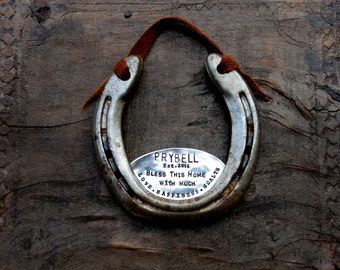 The Love • Happiness • Health Horseshoe™ Rustic Welcome Gift. Housewarming. Home. The Handmade Original by Sycamore Hill. Home Sweet Home
