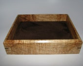"""Impressively Spalted Maple Valet Box. Wooden Tray Upholstered in Suede Fabric. 8.5"""" x 7"""" x 2"""""""