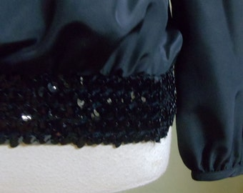 """Vintage Diversity Black Long Sleeved Blouse with Sequin Waistline Bust 41""""  Stretchy Waist 26-36"""""""