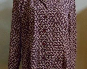 "Vintage 80's Worthington Burgundy Long Sleeved Blouse Geometric Print Two Tiered Collar Bust 44"" Waist 41"""